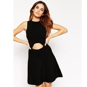 Black Skater Dress In Structured Knit With Cut Out